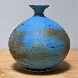 David-Ernster-Porelain-round-vase-with-blue-terra-sig-7.5hx6.51
