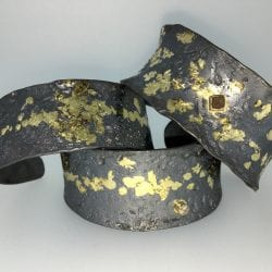 Elkin-Rick-3 cuff Bracelets in sterling and fused 14k gold and diamonds