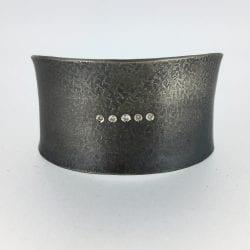 Elkin-Rick-Sterling cuff bracelet with diamonds