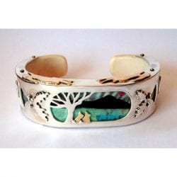 Lorette-Jim-Andrea-Jayelay-JLA-Jewelers-Cuff-Bracelet-Sterling-Silver-Crown-and-Overlay-18k-Gold-Rabbits-Ruby-Sun-Buffalo-Horn-Mt-Tur