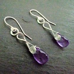 Lorette-Jim-Andrea-Jayelay-JLA-Jewelers-Elegant-Twist-Dangle-Earrings-Sterling-Silver-Spiral-Earrings-Faceted-Purple-Amethyst-Februar