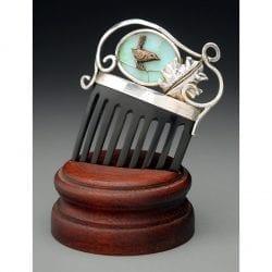 Lorette-Jim-Andrea-Jayelay-JLA-Jewelers-Hair-Comb-Bronze-Wren-Bulgarian-Opal-Black-Horn-Sterling-Silver-Spiral-Fine-Silver-Oak-Leaf