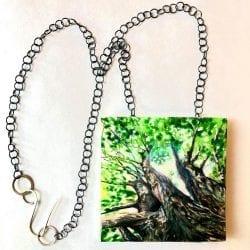 Sawyer-Becky-upward-at-trees-pendant