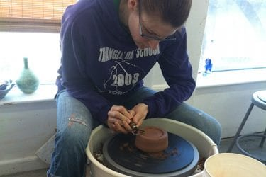 Craft workshops in clay, pottery at the Littleton Studio School.